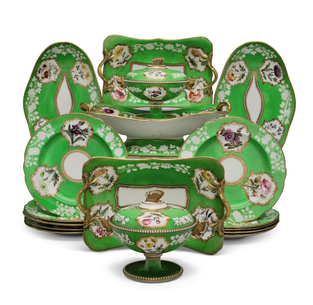 A SPODE PORCELAIN APPLE-GREEN GROUND PART DESSERT SERVICE