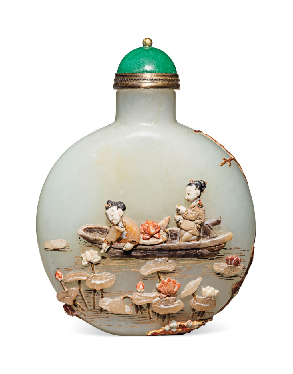 AN EMBELLISHED WHITE JADE SNUFF BOTTLE