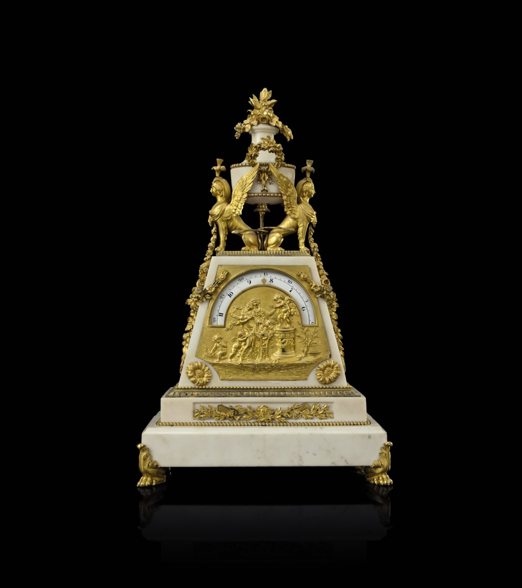 A DIRECTOIRE ORMOLU-MOUNTED WHITE MARBLE CLOCK