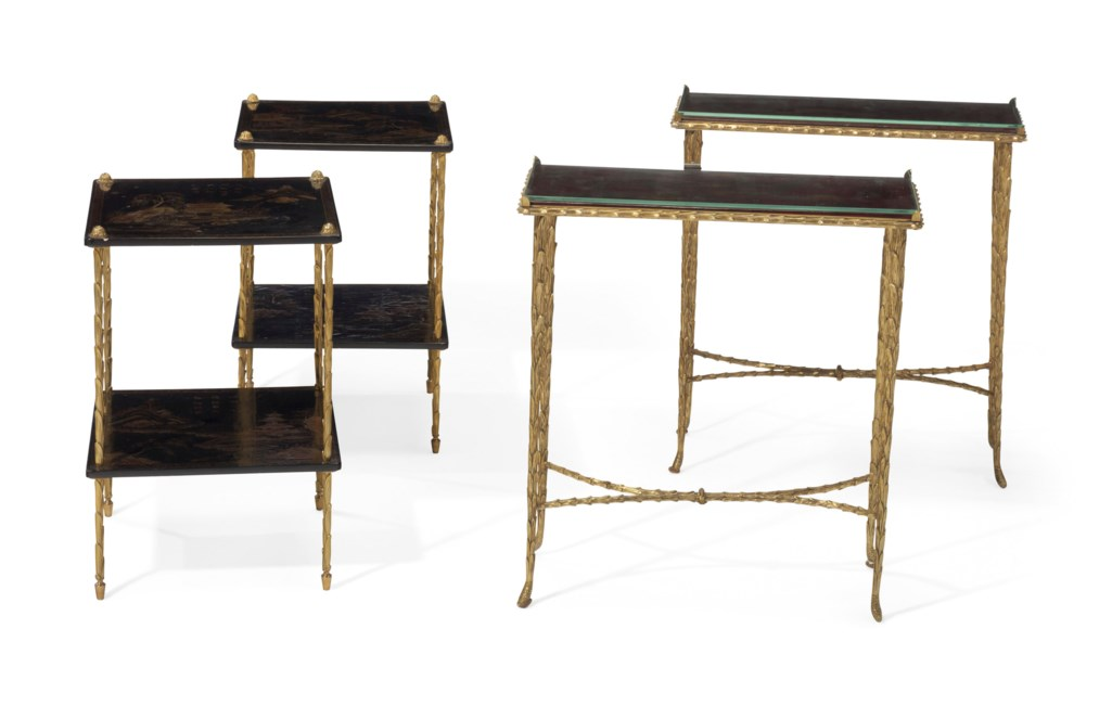 TWO PAIRS OF FRENCH ORMOLU AND JAPANNED SIDE TABLES