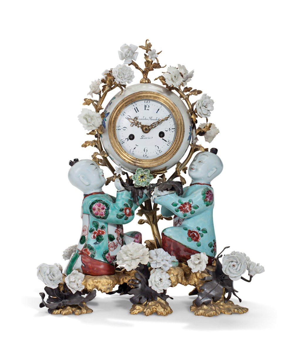 A LOUIS XV ORMOLU AND PATINATED BRONZE-MOUNTED CHINESE AND CHANTILLY PORCELAIN MANTEL CLOCK