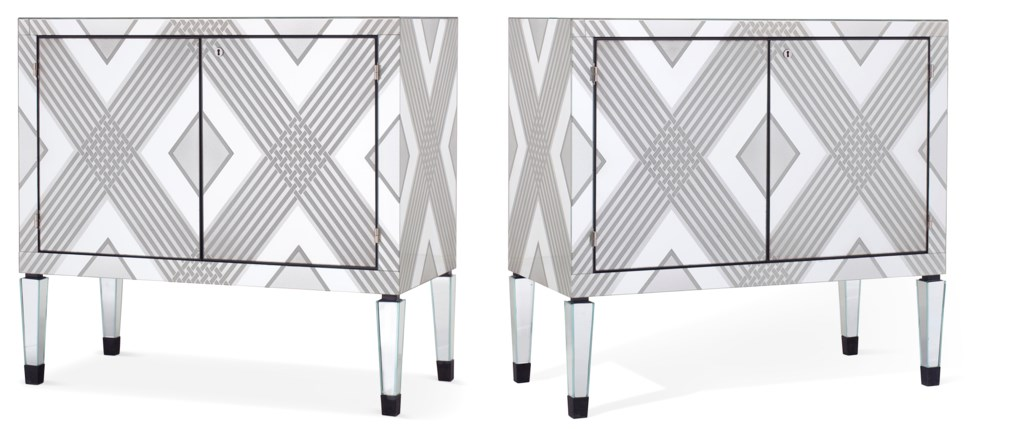 A PAIR OF AMERICAN MIRRORED-GLASS SIDE CABINETS