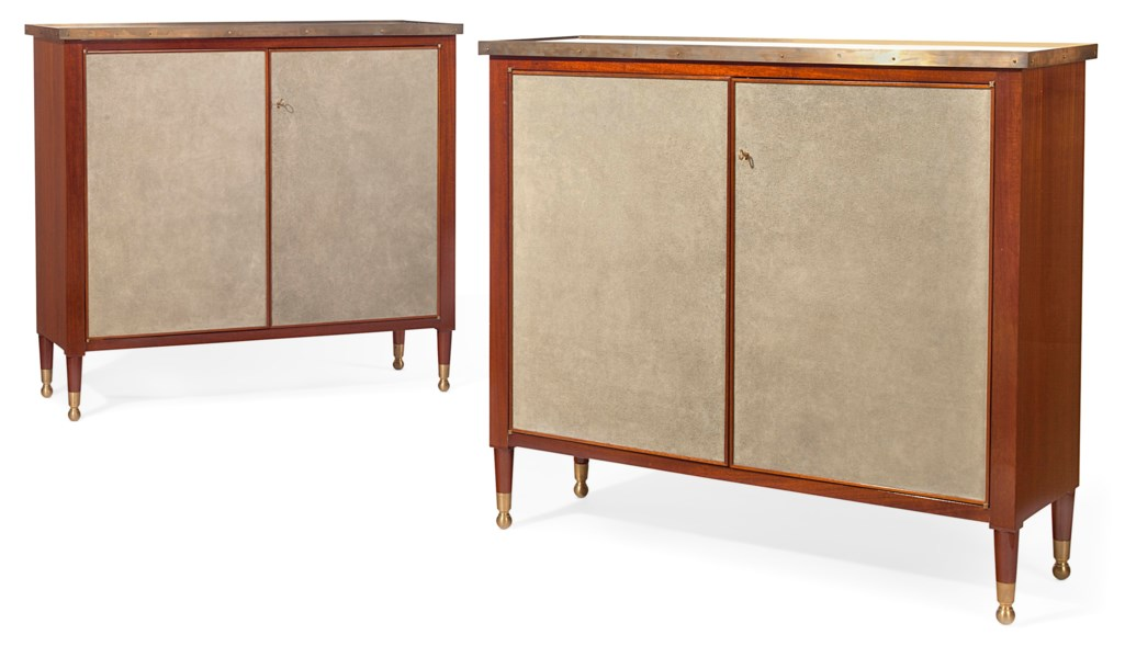 A PAIR OF AMERICAN MAHOGANY, BRASS AND SUEDE SIDE CABINETS