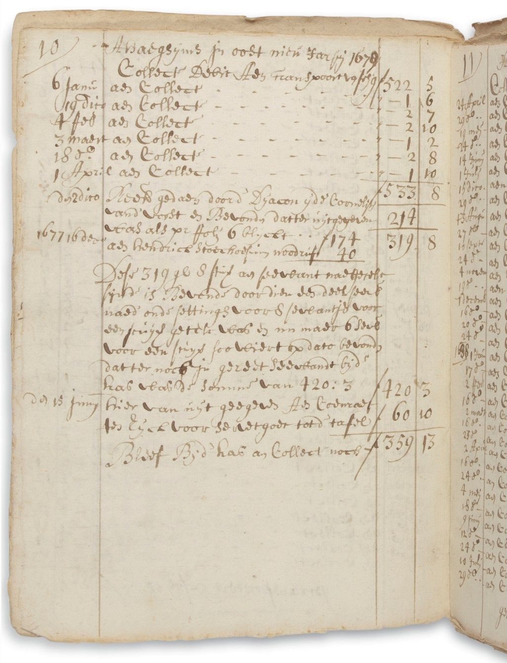 BERGEN, NEW JERSEY DUTCH REFORMED CHURCH. Manuscript accounts, Bergen, N.J., 1668 to 1703 and 1686 to 1734.