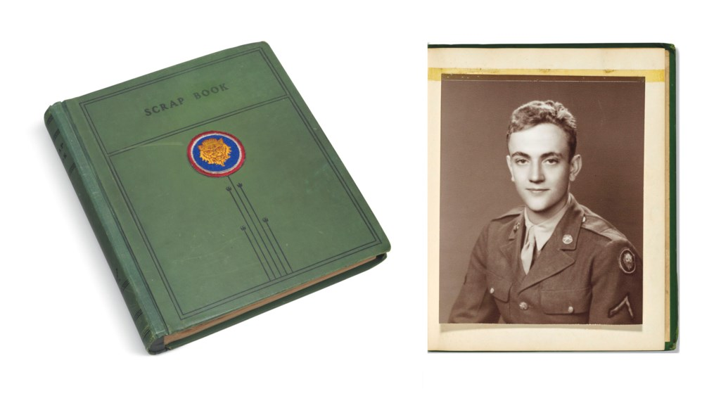 "VONNEGUT JR, Kurt (1922-2007). World War II Scrapbook, including 22 autograph letters signed (""Kurt III"" and ""Kay"") to his family; together with telegrams, period photographs, printed matter, ephemera, and related material; Dresden and Indianapolis, 1944-45."