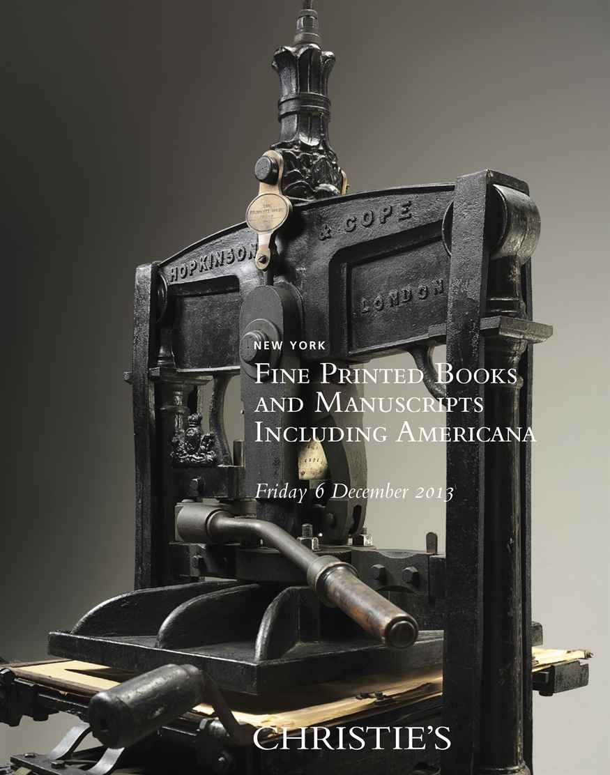 Fine Printed Books & Manuscrip auction at Christies