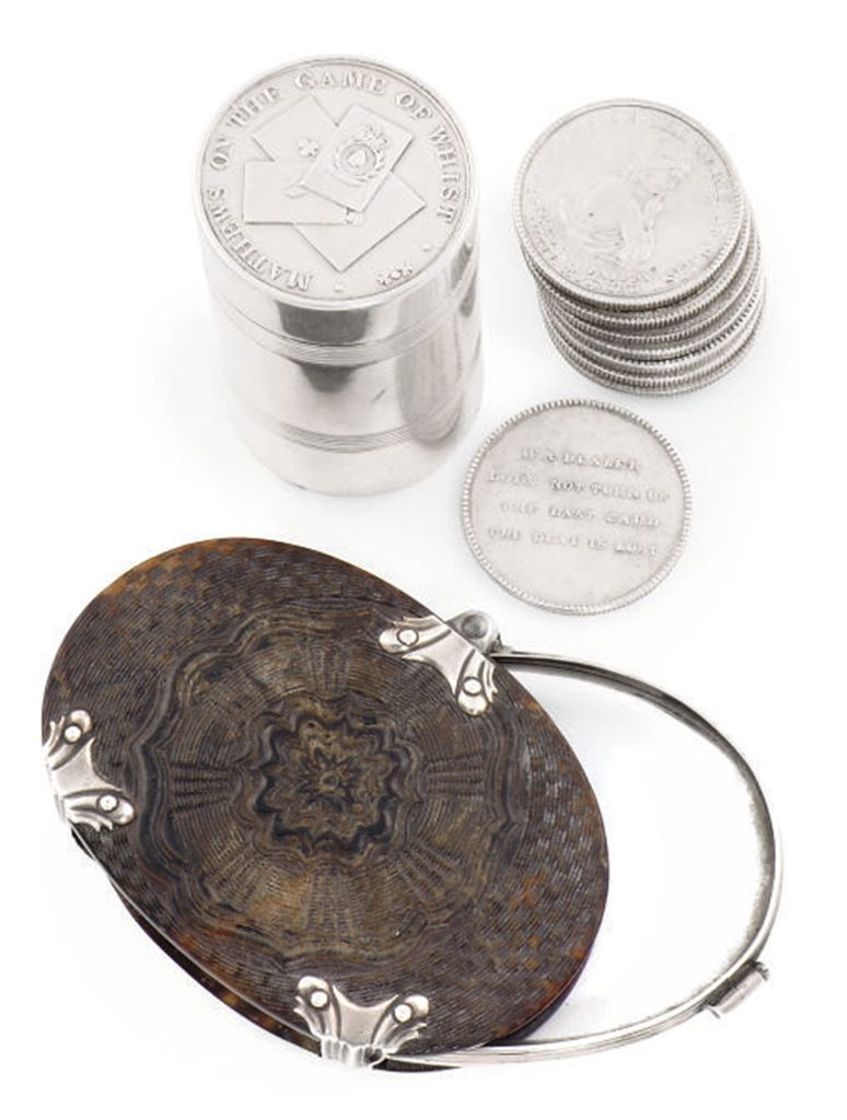 A SILVER-PLATED BRASS WHIST CO