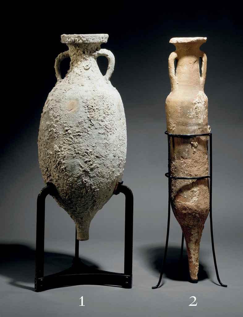 A ROMAN POTTERY AMPHORA