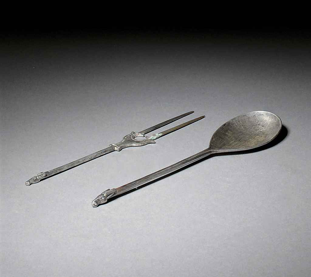 A SASSANIAN SILVER FORK AND SP