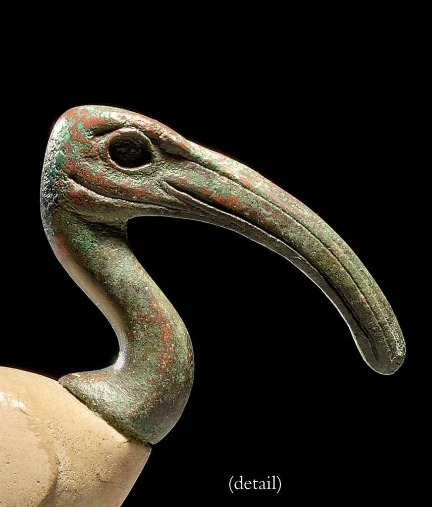 AN EGYPTIAN BRONZE IBIS HEAD