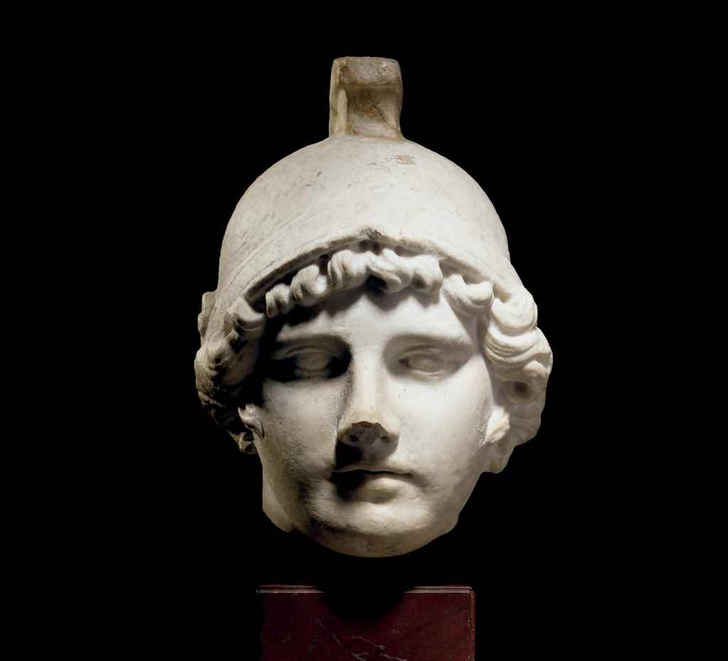 A ROMAN STYLE MARBLE MALE HEAD