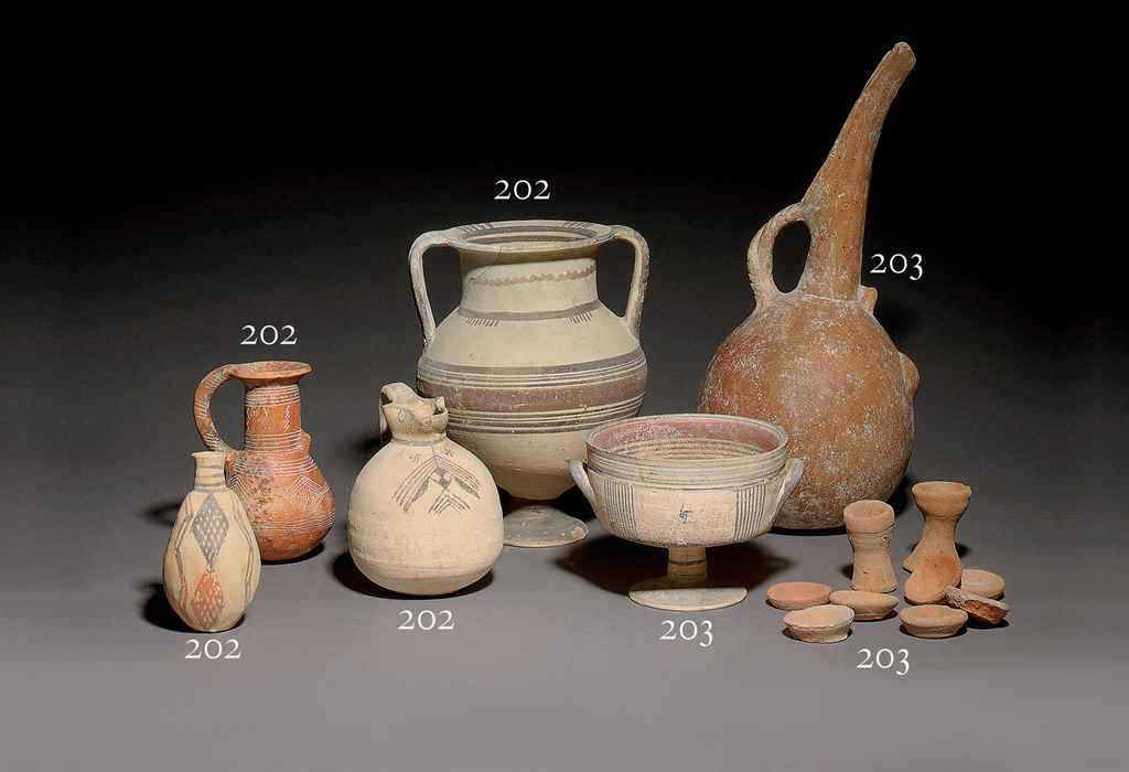 FOUR CYPRIOT POTTERY RED POLIS