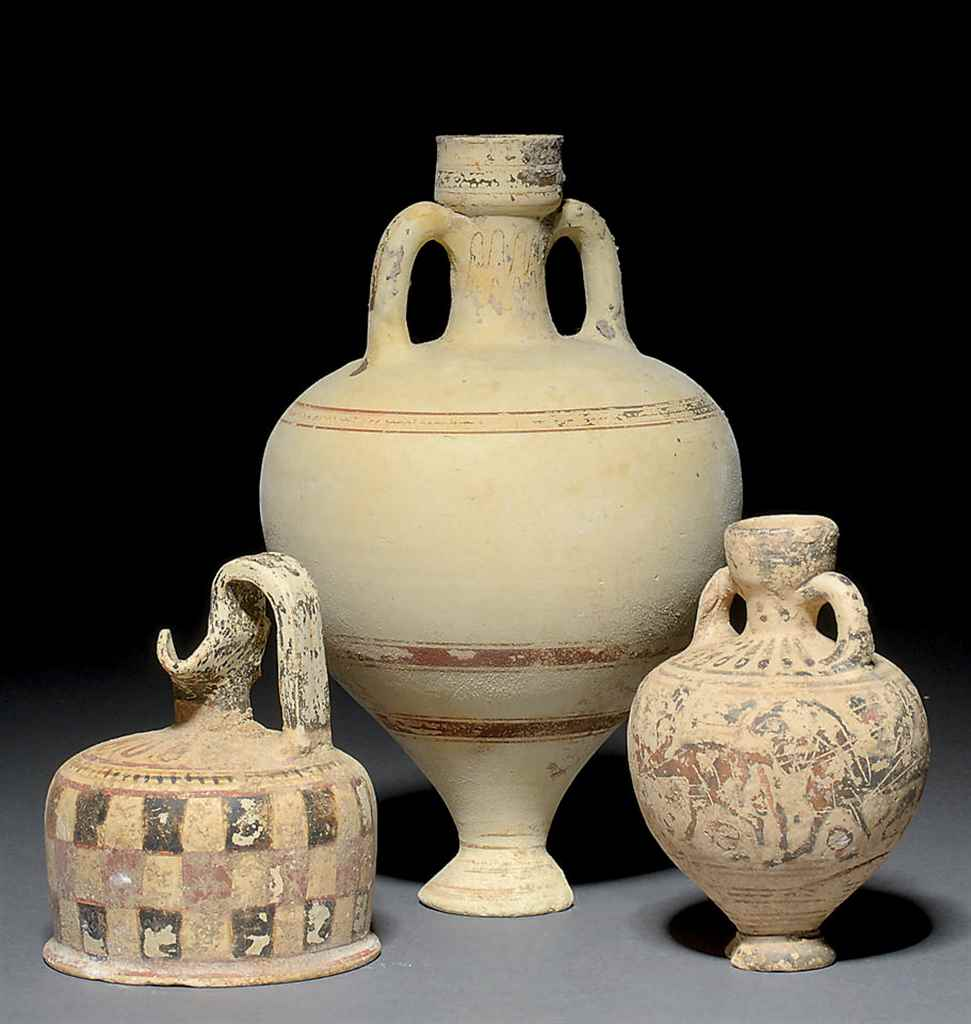 SIX CORINTHIAN POTTERY VESSELS