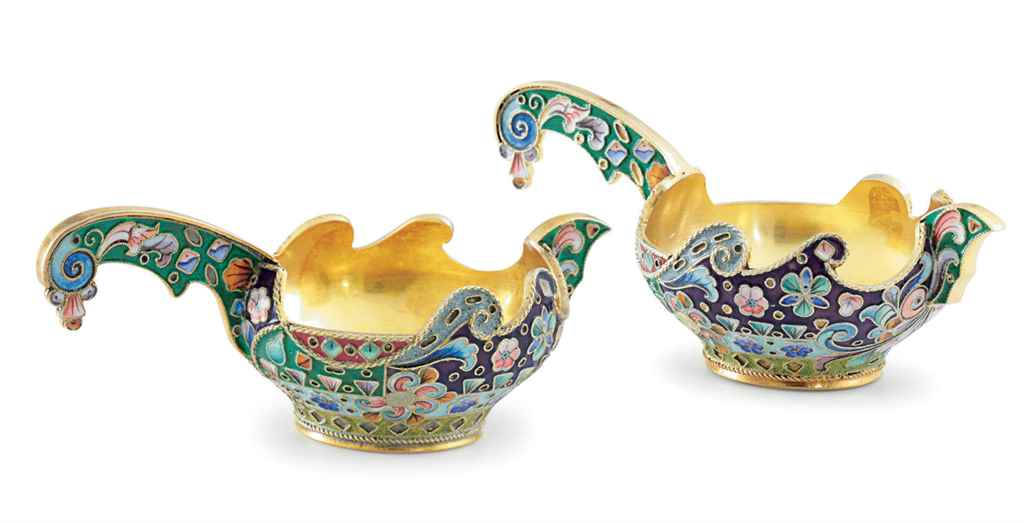 A Pair of Silver-Gilt and Cloi