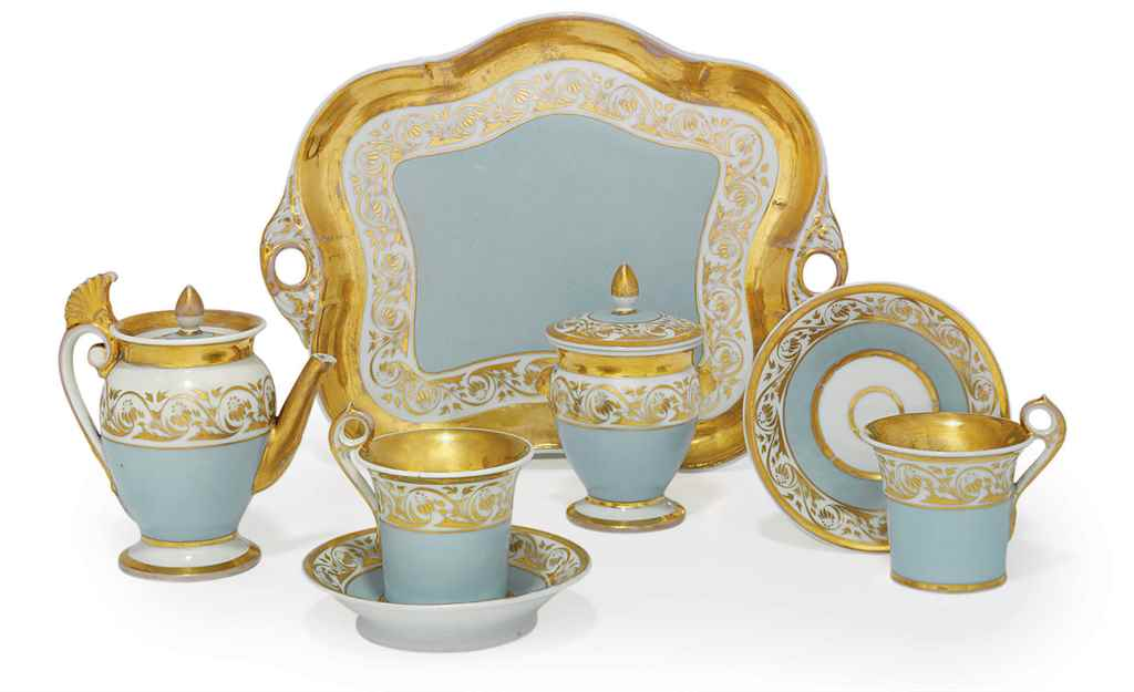 A Porcelain Tete-A-Tete Tea Se