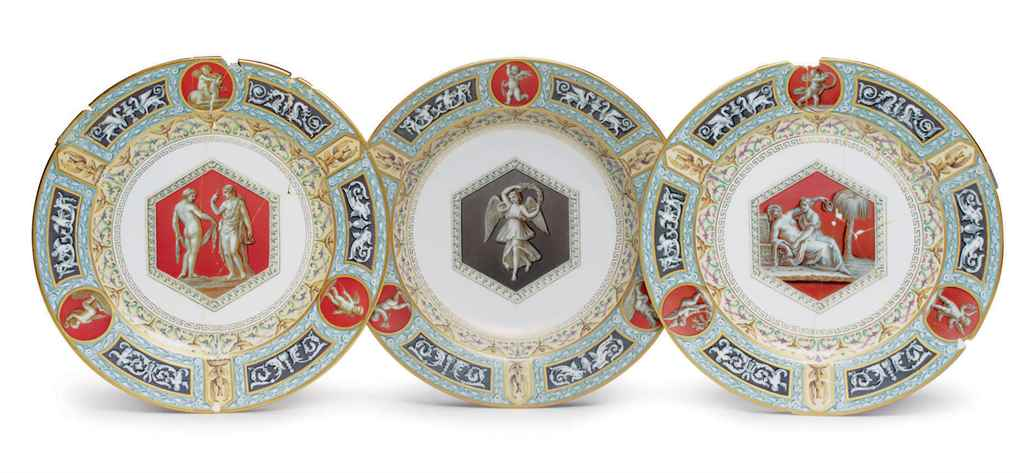 A Porcelain Soup Plate and Two