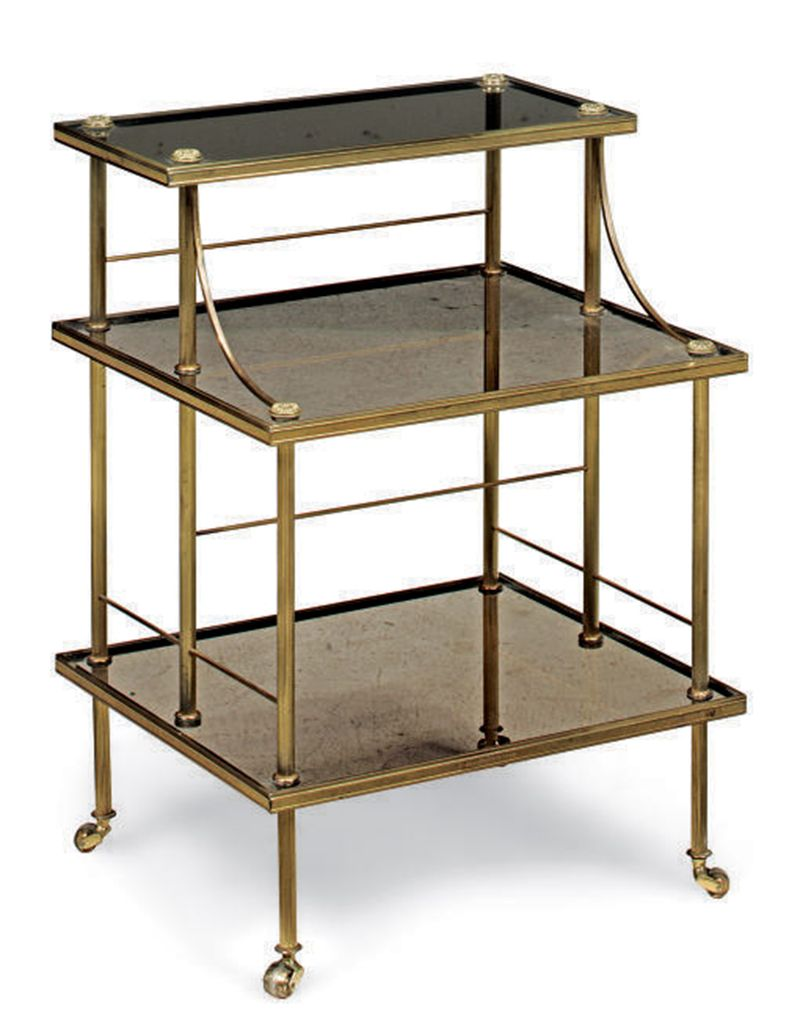 A FRENCH LACQUERED BRASS ETAGE