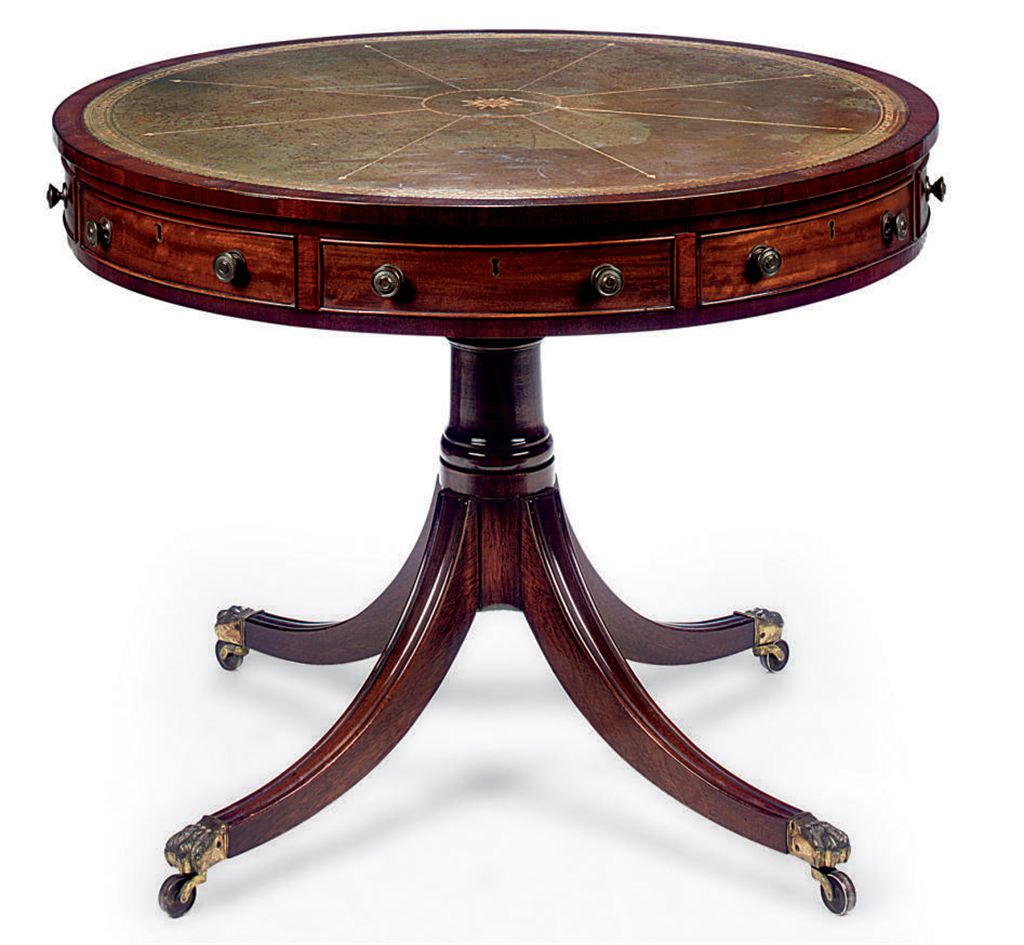 A MAHOGANY DRUM-TABLE