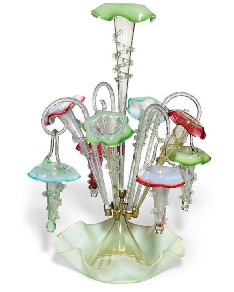 A MULTI-COLOURED GLASS FLOWER