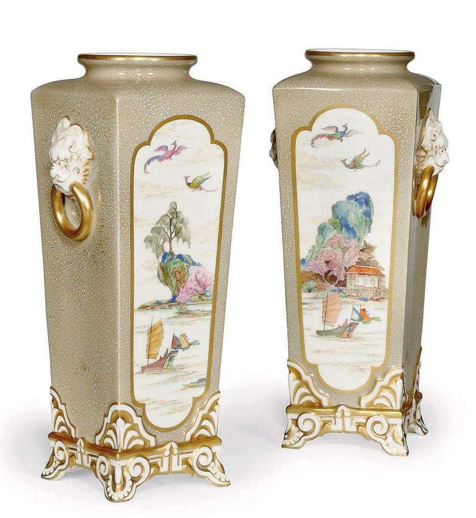 A PAIR OF ROYAL WORCESTER 'AES