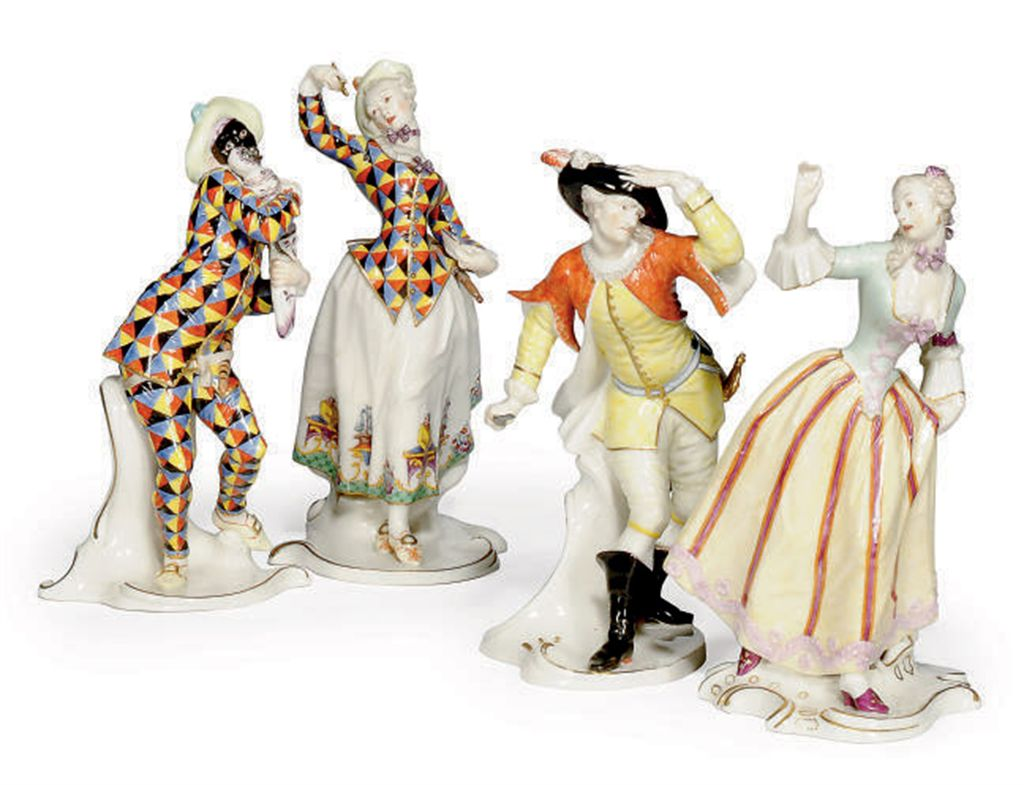 FOUR NYMPHENBURG COMMEDIA DELL