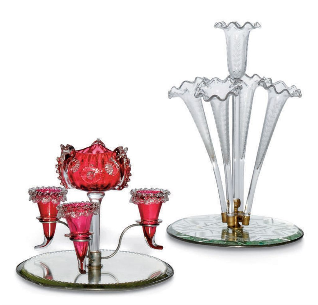 TWO GLASS CENTREPIECES