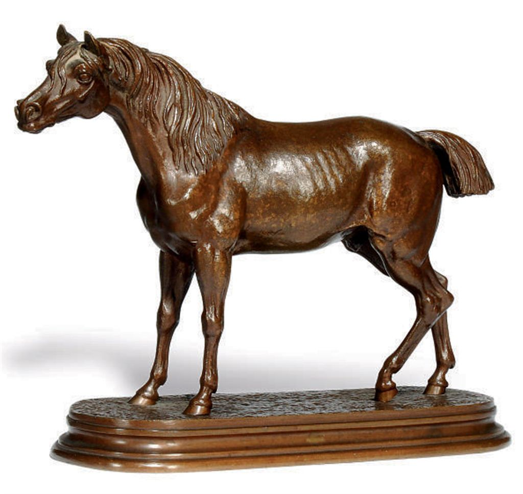 A FRENCH BRONZE MODEL OF A HOR