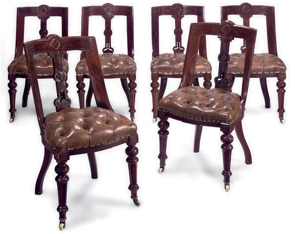 A SET OF SIX VICTORIAN MAHOGAN
