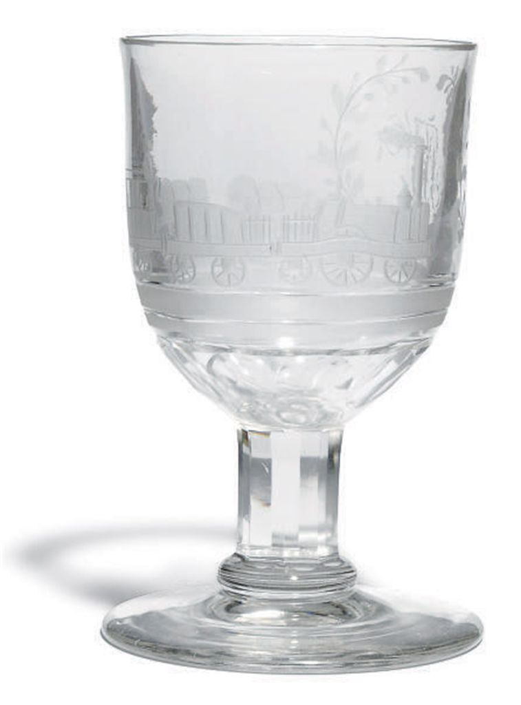 AN ENGRAVED GLASS LOCOMOTIVE G