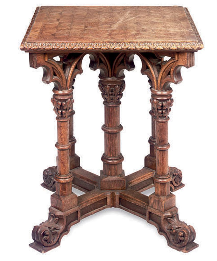 A GOTHIC REVIVAL CARVED OAK AN