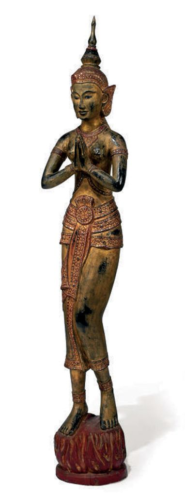 A THAI CARVED AND PAINTED WOOD