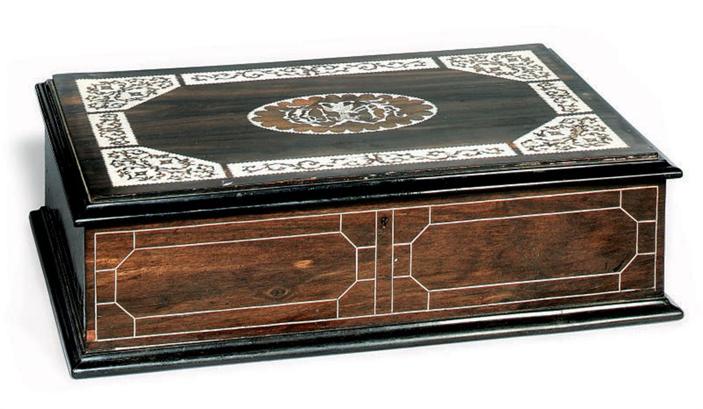 AN EBONY AND IVORY INLAID MARQ