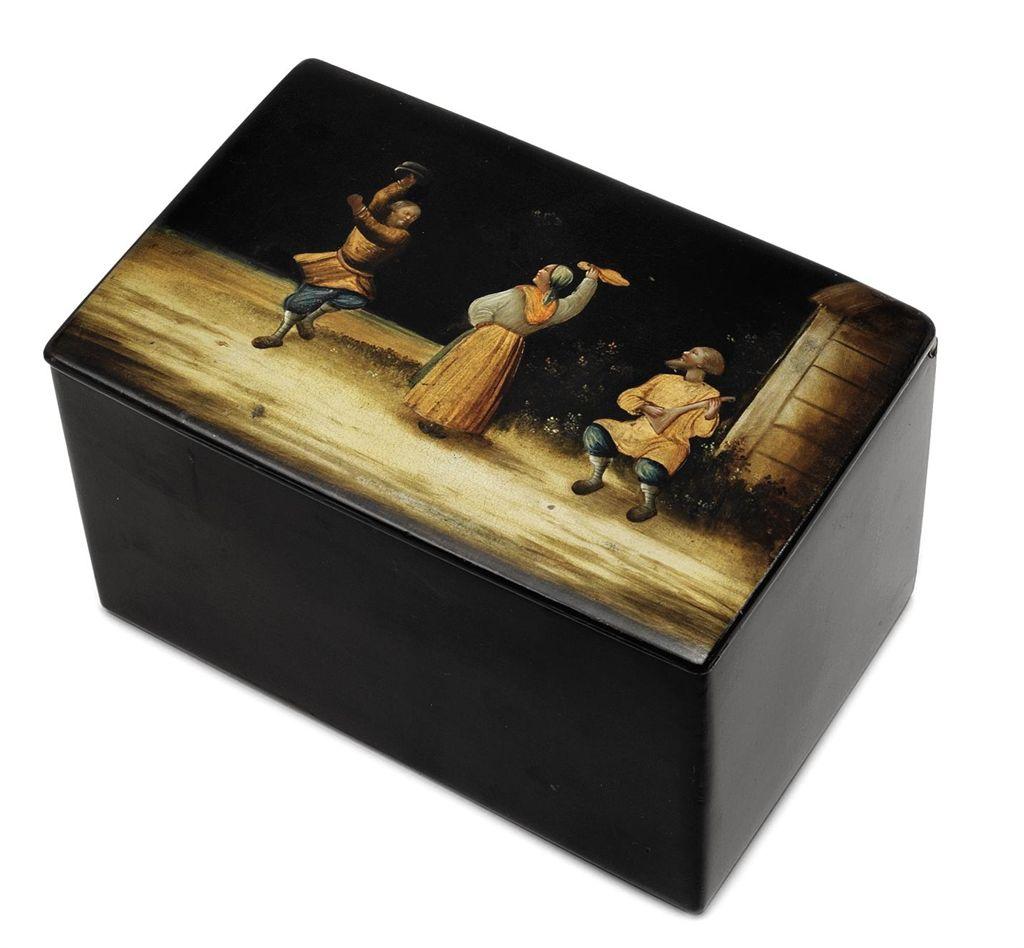 A PAPIER-MACHE LACQUER BOX