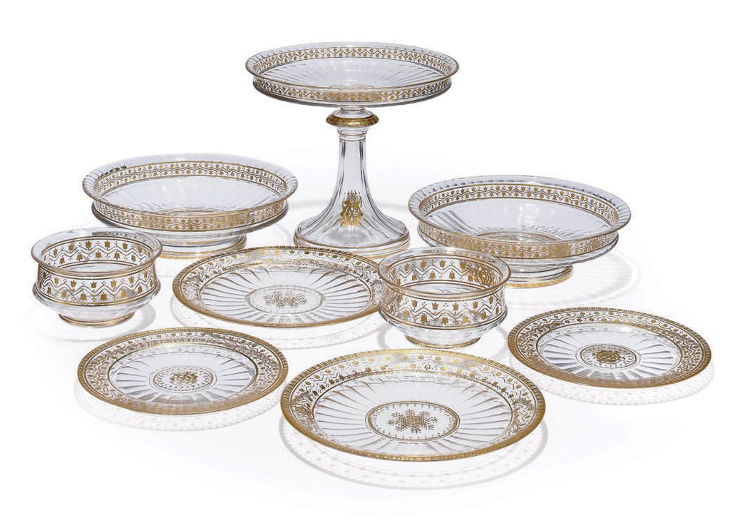 A LOBMEYER GILT GLASS DESSERT-