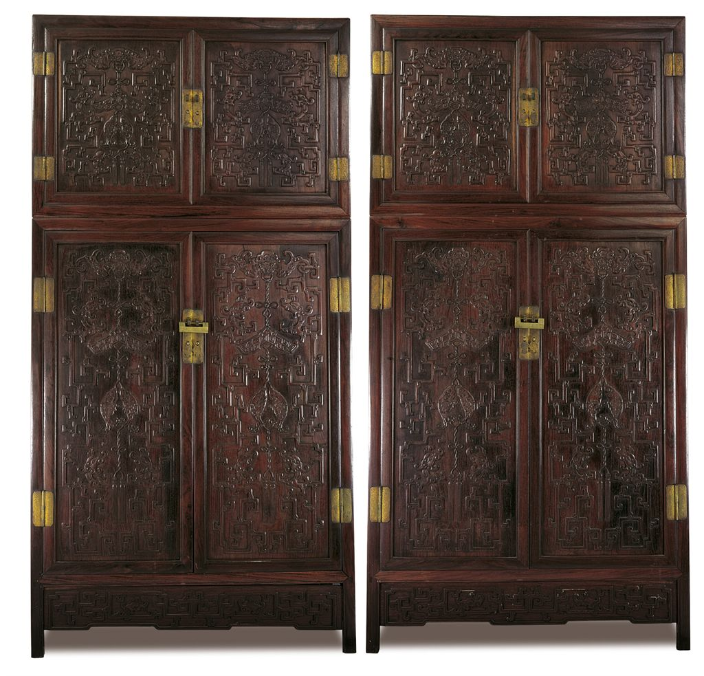 A LARGE PAIR OF HONGMU COMPOUND CABINETS, SIJIANGUI