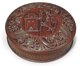 A CHARLES II FRUITWOOD LOVE-TOKEN SNUFF BOX