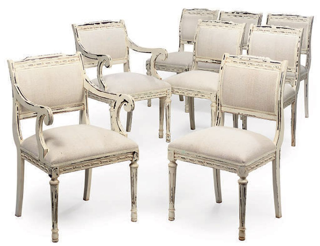 A SET OF EIGHT CREAM PAINTED DINING CHAIRS OF LOUIS XVI
