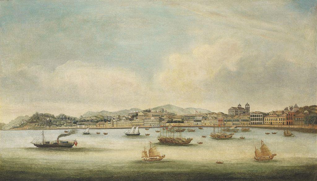 Peinture encadree huile sur toile ecole chinoise for Peinture sur toile