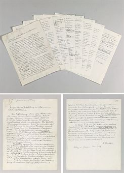 EINSTEIN, Albert (1879-1955). Autograph manuscript signed (A. Einstein on last page), constituting Einstein's lecture The Origin of the General Theory of Relativity (Einiges über die Entstehung der allgemeinen Relativitätstheorie), delivered as the first George A. Gibson Lecture at the University of Glasgow, 20 June 1933. A working draft with extensive deletions and interlinear additions. No place, undated, but ca. June 1933.