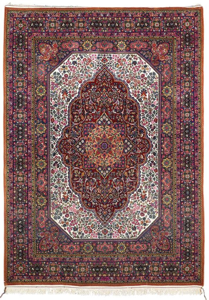 An extremely fine part mercerized cotton Kirman rug