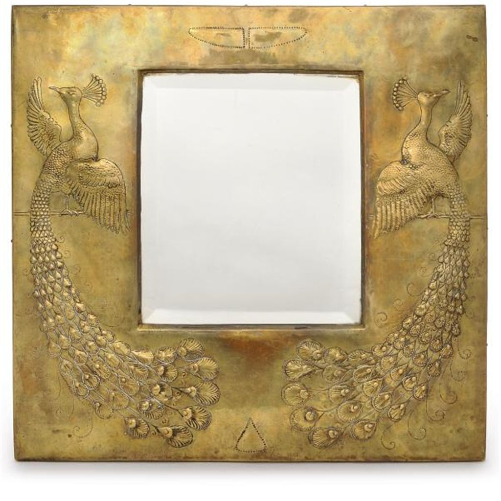 AN ARTS & CRAFTS BRASS WALL MIRROR