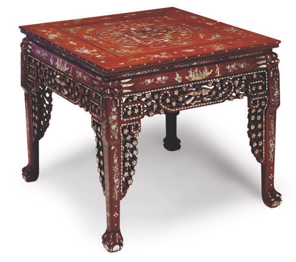 A chinese hardwood and mother of pearl inlaid square for Table th center