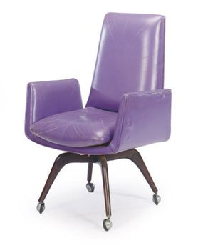 A PURPLE LEATHER-UPHOLSTERED DESK CHAIR, | BY VLADIMIR KAGAN