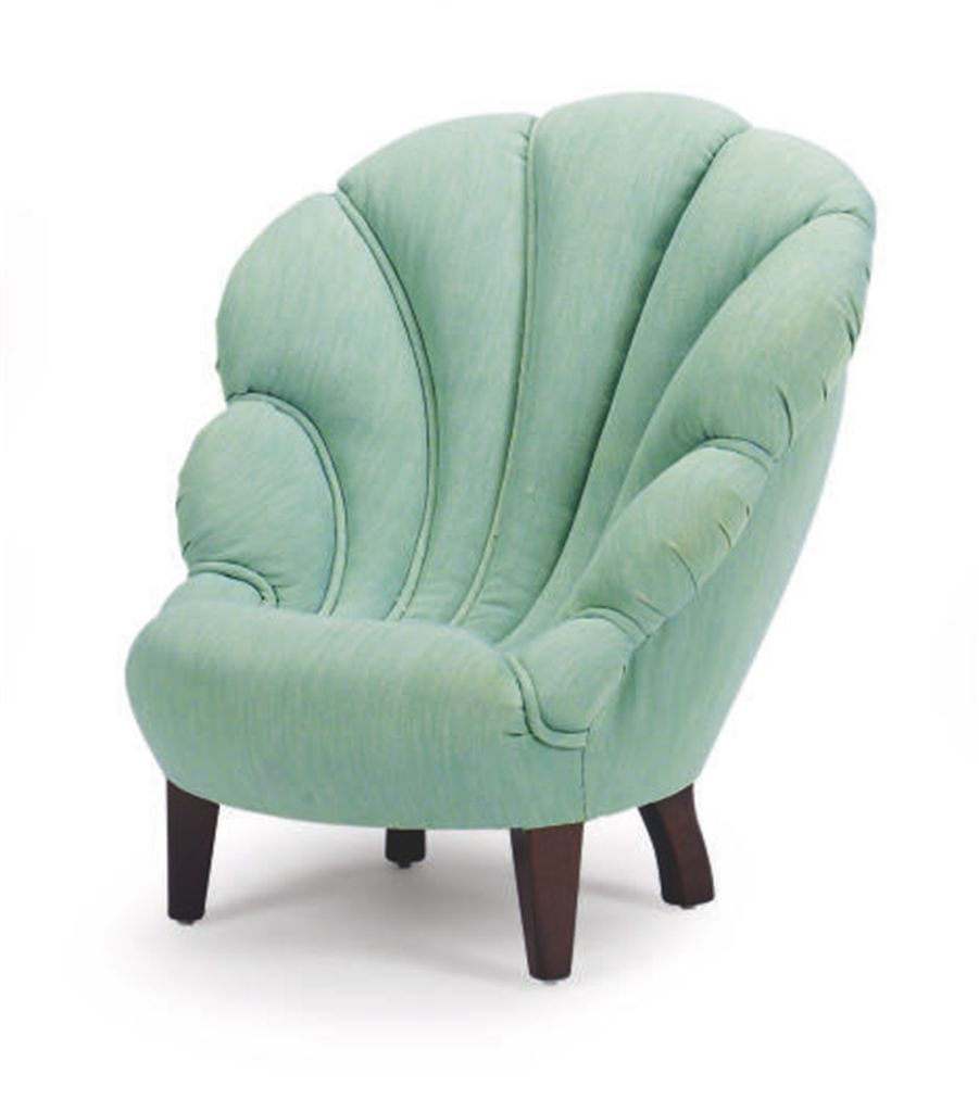 A TEAL TWILL-UPHOLSTERED SHELL