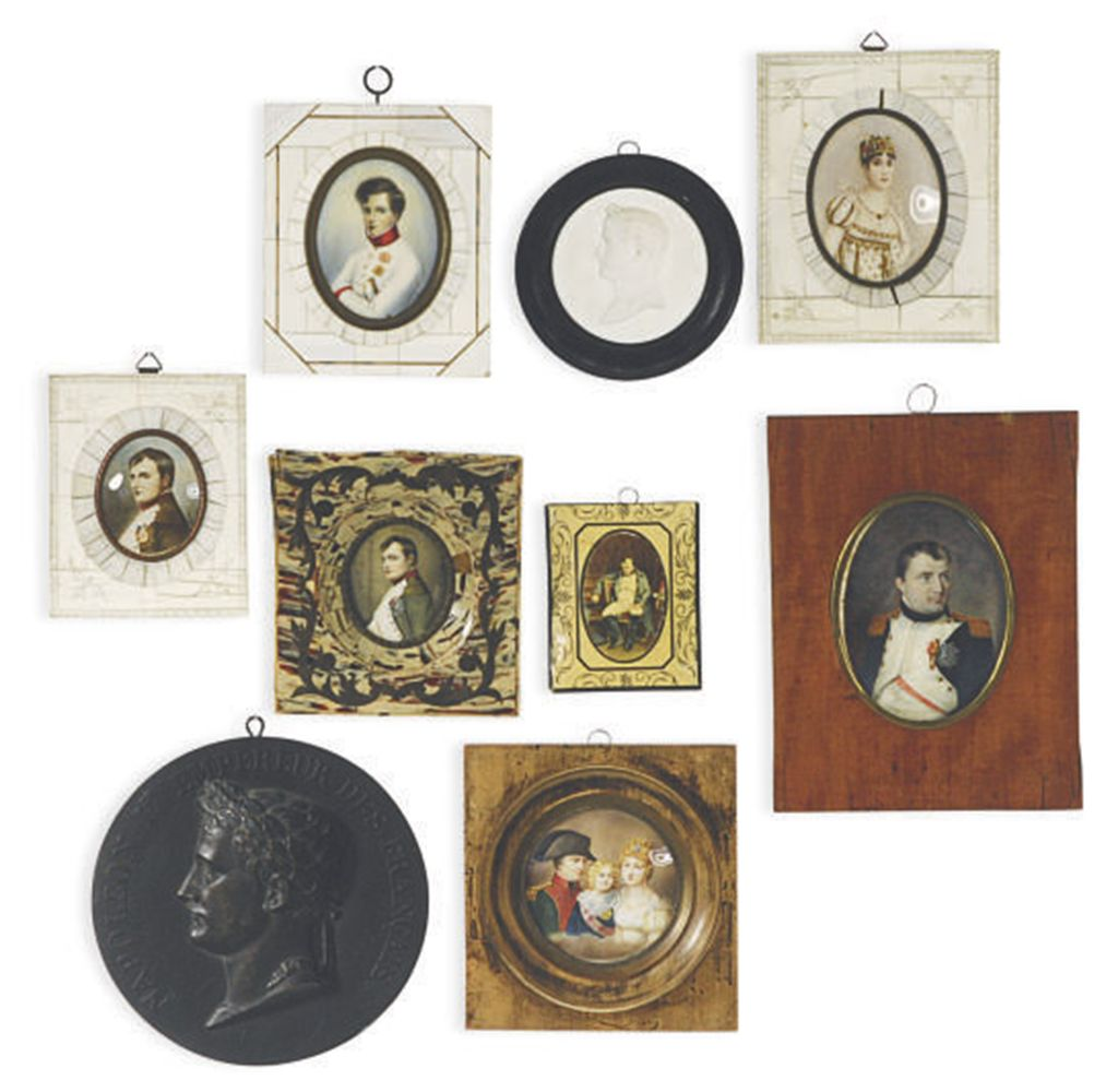A GROUP OF SEVEN FRAMED PORTRAIT MINIATURES OF NAPOLEON, JOS...