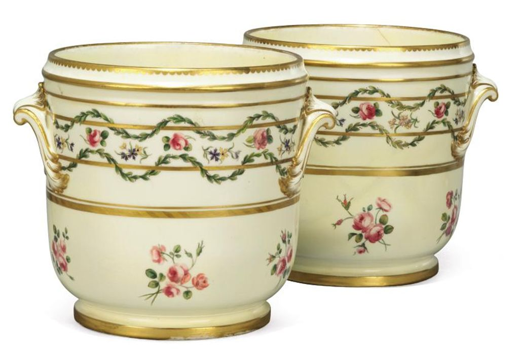 PAIR OF MINTON TWO-HANDLED ICE-PAILS AND A POTSCHAPEL JARDIN...