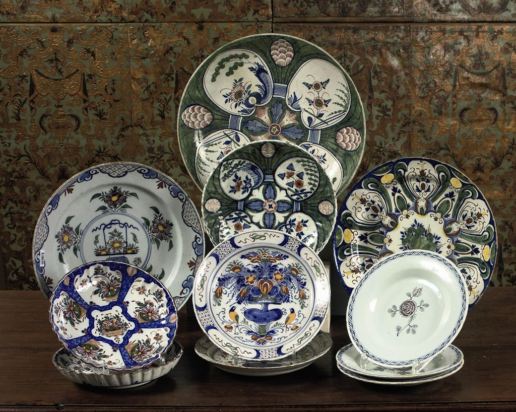 An assorted group of Dutch Delft polychrome dishes