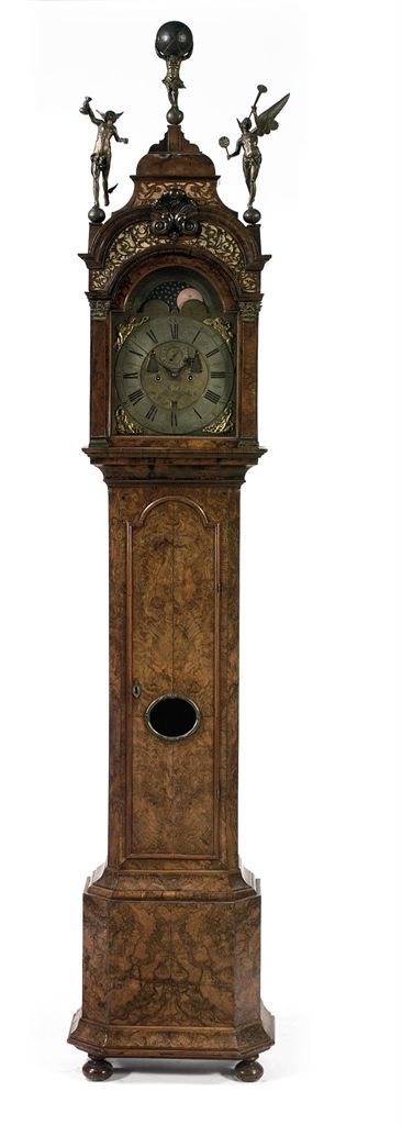 A DUTCH WALNUT AND BURR-WALNUT LONGCASE CLOCK WITH MOONPHASE...