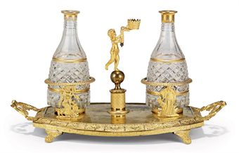 A RUSSIAN ORMOLU AND CUT-GLASS WINE DECANTER SET