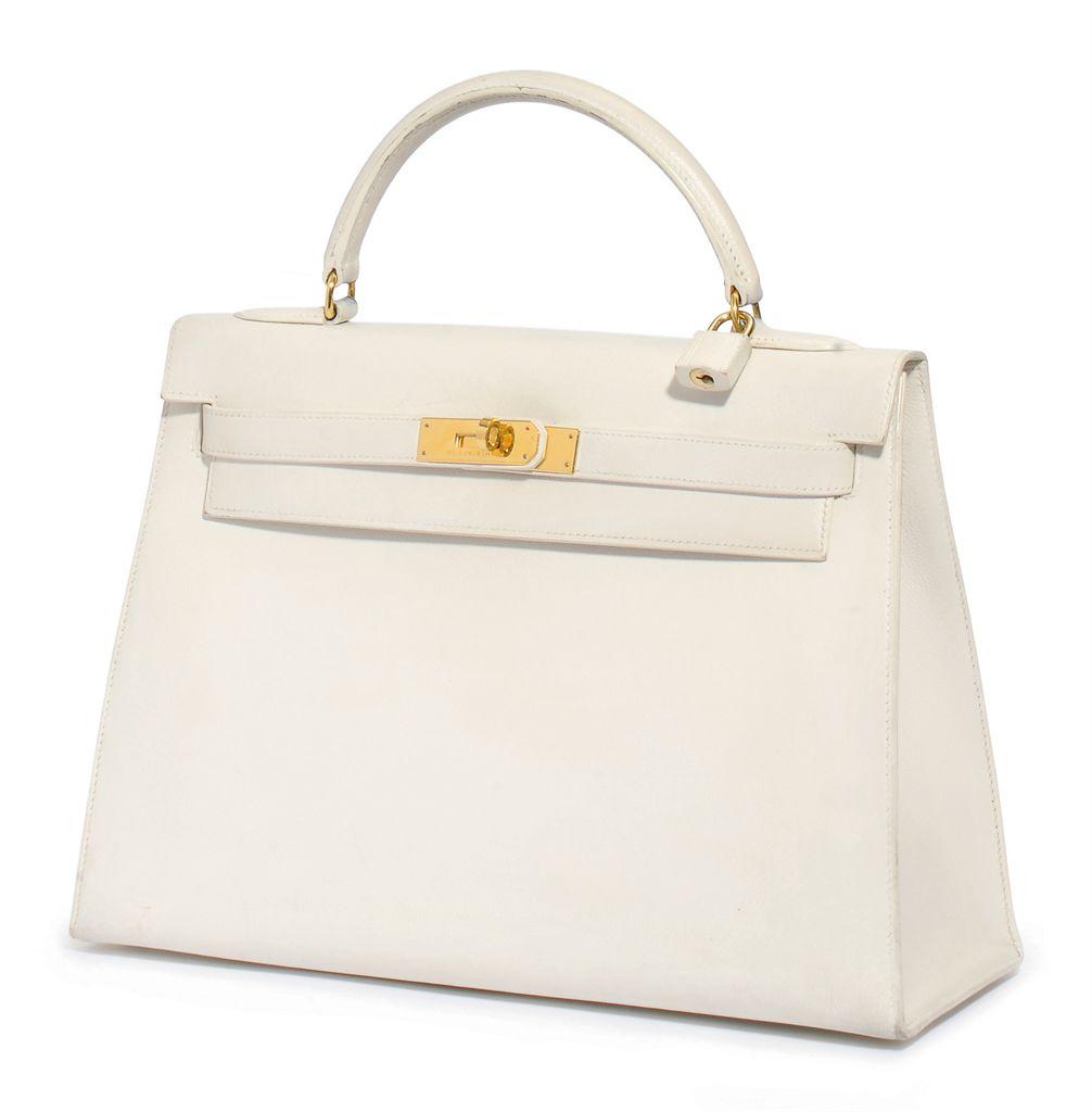 A WHITE 'KELLY' BAG